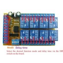 8ch DC 5V 12V 24V DIP Switch Delay Relay Module Flip Flop Latch Bistable Self locking Interlock Latch Power Conditioner