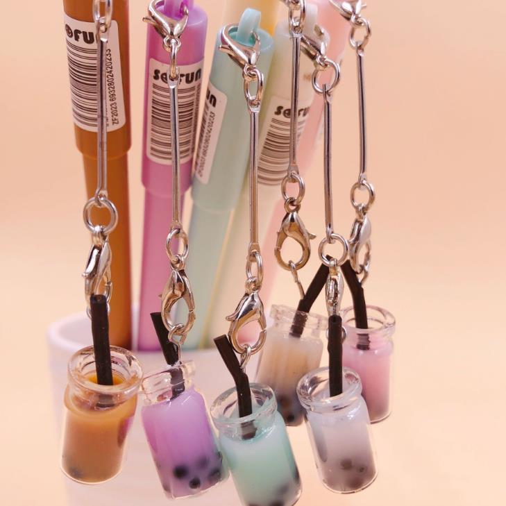 1 Pcs Kawaii Mini Bubble Tea Bottle Pendant Gel Pens Signature Pens School Office Stationery Gift