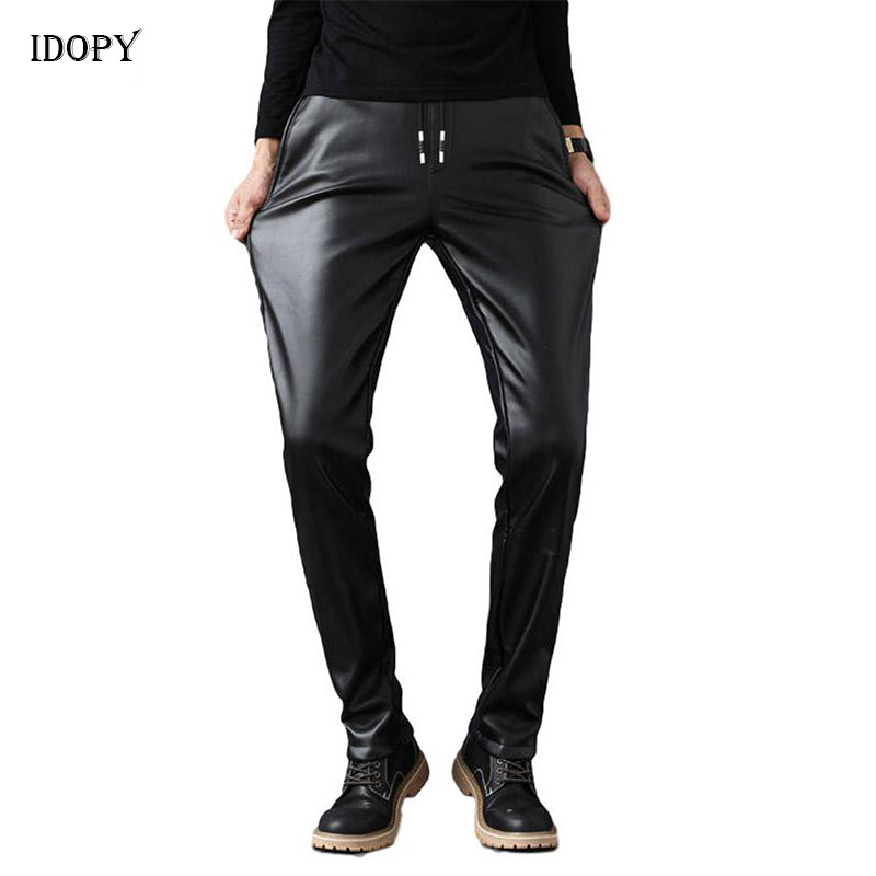 Idopy Men`s Faux Leather Pants Stretchy Black Slim Fit Drawstring Business Casual Velvet Lined PU Leather Trousers For Male