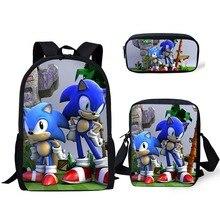 2020 New 3PCs/Set Children's School Backpack Sonic The Hedge