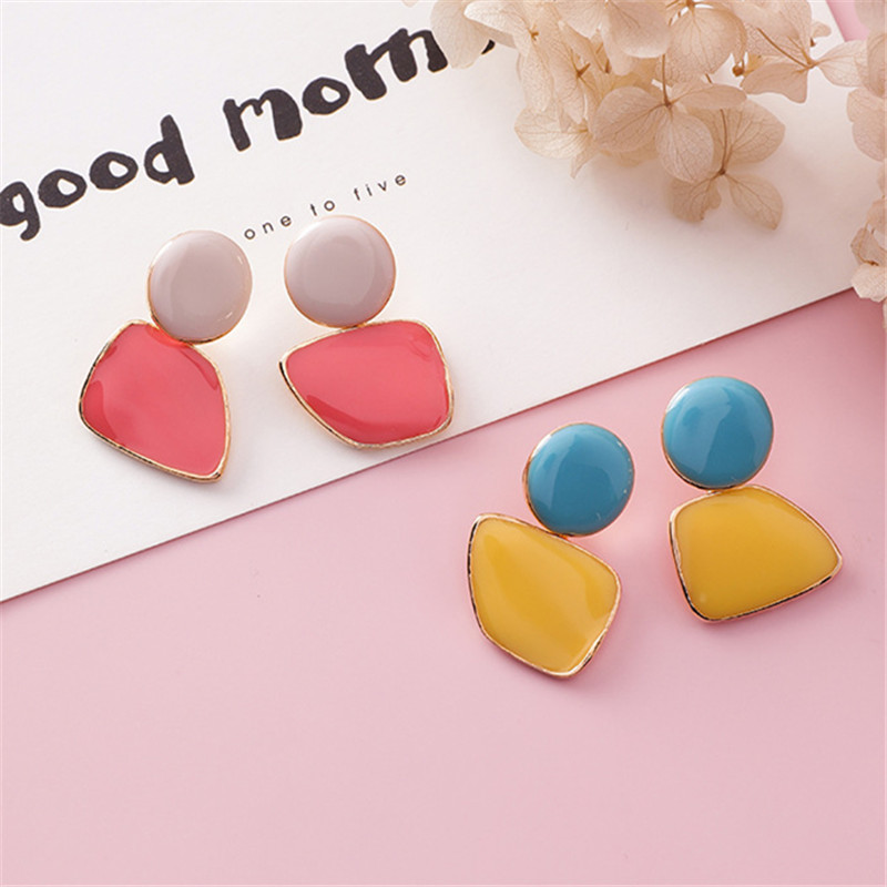 Vintage Simple Geometric Color Irregular Stud Earrings Cute Romantic Earrings For Women Temperament Color Candy Joker Earrings