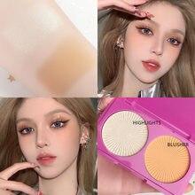 Palette de fards à joues pour le visage, 3 couleurs, anti-cernes, poudre de fond de teint, résistant à l'eau, cosmétique, TSLM2