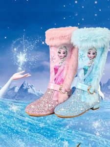 Winter Boots Princess-Shoes Sequin Girls Kids Children New Wool Warming Genuine