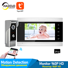 WiFi Tuya App 7 Inch Video Door Phone Intercom System with Wired Doorbell Camera Remote