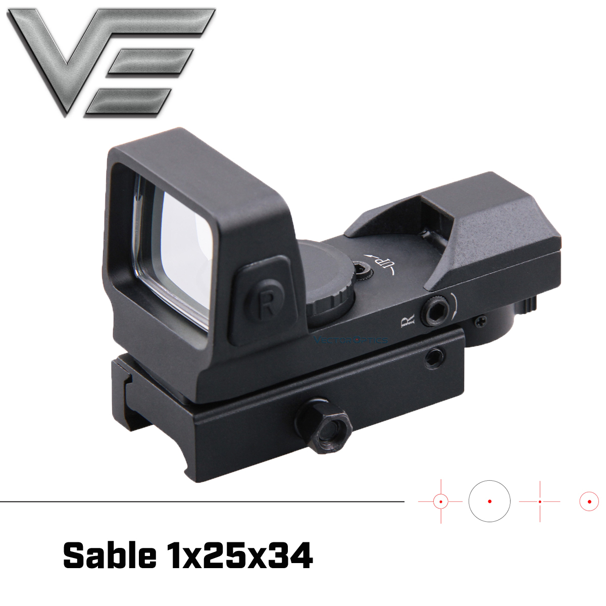 Vector Optics 1x25x34 Hunting 4 Reticle Green Red Dot Sight With Quick Release Mount Fit 21mm Picatinny Weaver Rail Shotgun AK47