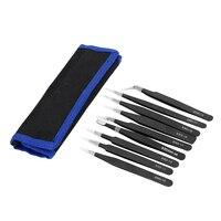 NICEYARD 9 teil/satz Anti Statische ESD Pinzette Set für Elektronik Telefon Reparatur BGA Arbeit Präzision Reparatur Tools Kit Industrielle-Pinzette Werkzeug -