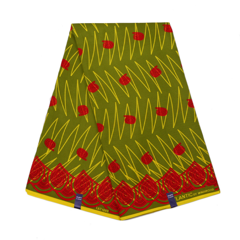 Latest Arrivals Green 100% Polyester Red Pattern Printed African Wax High Quality Dutch Wax Printed Fabric