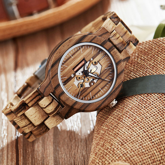 Couple Gift Women Watches Laides Casual Wrist Watch Wooden Round Dial Band No Number Analog Hollow Couple Bracelet Quartz Watch 2