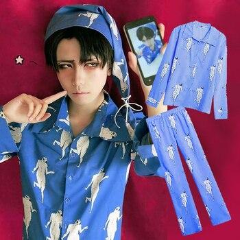 Anime Attack on Titan Levi Pajamas Sleepwear Shingeki No Kyojin Cosplay Costume Adult Pyjamas Pijamas Shirt Pants With Hat anime attack on titan wings of liberty pendant necklace shingeki no kyojin cosplay necklace survey corps necklaces