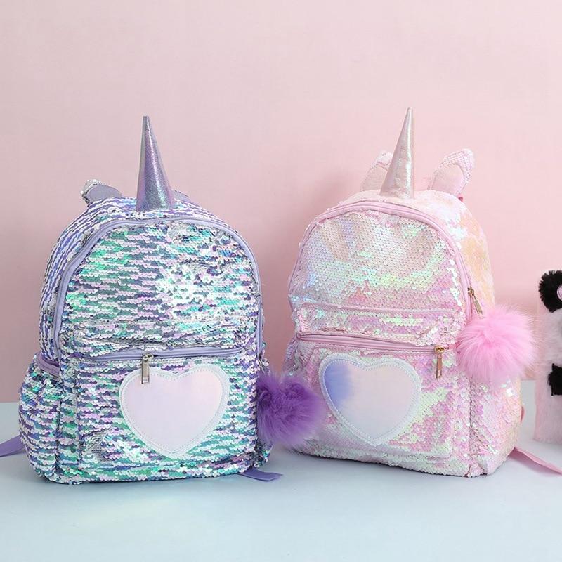 1 mochila nicorn con lentejuelas para niñas, niños, dibujos animados, mochilas de escuela primaria, mochila con capacidad para libros, mochila con doble hombro|Mochilas escolares| - AliExpress