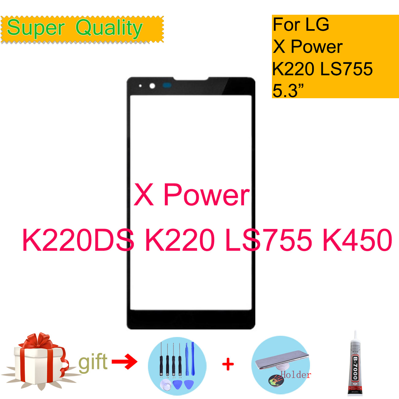 For LG X Power Xpower K220DS K220 LS755 K450 Touch Screen Front Glass Panel Front Outer Glass Lens For LG X Power LCD Glass