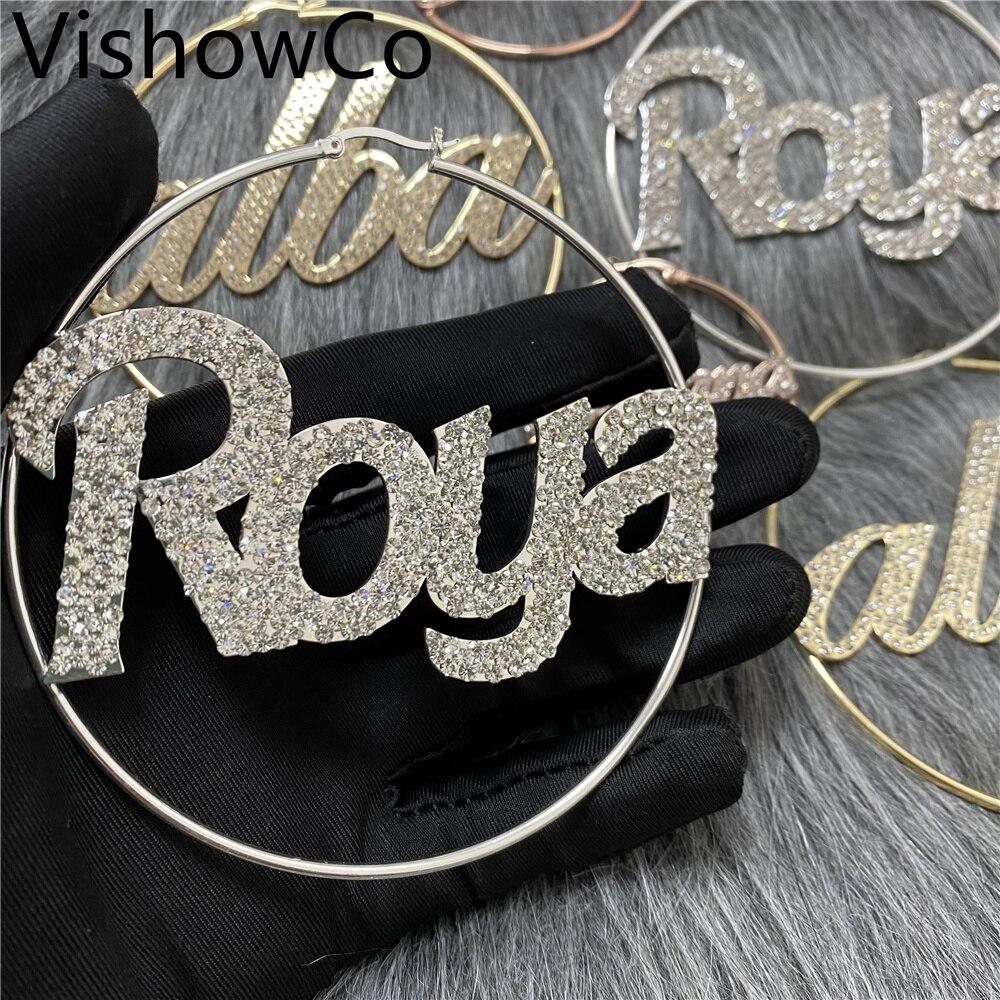 VishowCo 50-100mm Custom Name Earrings Letter Big Personalized Stainless Steel Zircon Nameplate Hoop Earrings For Women Gifts