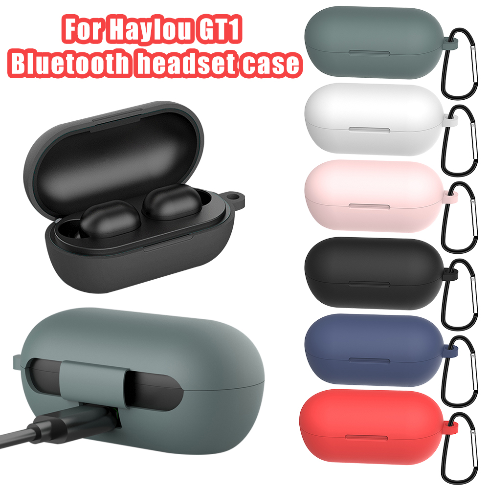 Silicone Soft Protective Shockproof Bluetooth Earphone Case For Haylou GT1 Plus Tws GT1 Plus Wireless Headphone Box With Hook