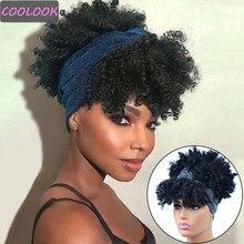 Perruques Afro synthétiques bouclées crépues pour femmes, 10 pouces, courtes, avec écharpe, résistantes à la chaleur, en fibres naturelles, Jerry Curl