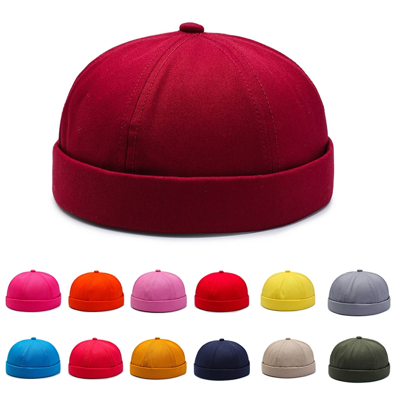 Beanie Men Women Retro Brimless Portable Adjustable Skullcap Pure Cotton Hat Hip Hop Hat Skull Cap Riding Hiking Cycling Travel