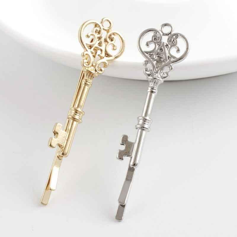 Clip para el cabello con forma de llave y hueco minimalista de aleación de Metal para mujeres y niñas