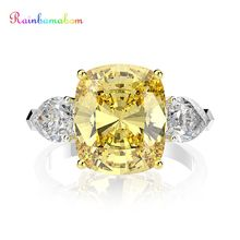Rainbamabom 925 מוצק סטרלינג כסף סיטרין Moissanite חן חתונת אירוסין קוקטייל טבעת נשים תכשיטים סיטונאי