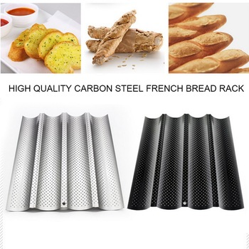 1pcs French Bread Baking Mold Bread Wave Baking Tray Nonstick Cake Baguette Mold Pans 2/3/4 Groove Waves Bread Baking Tools#25 3 4 groove waves french bread baking tray bread baking pan reusable non stick baguette bread wave mold toast baking supplies