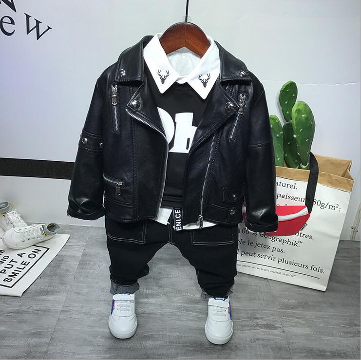 T-Shirt Jean Clothing-Set Boys-Sets Spring Faux-Leather Children 4PCS Autumn Coat 2-6years title=