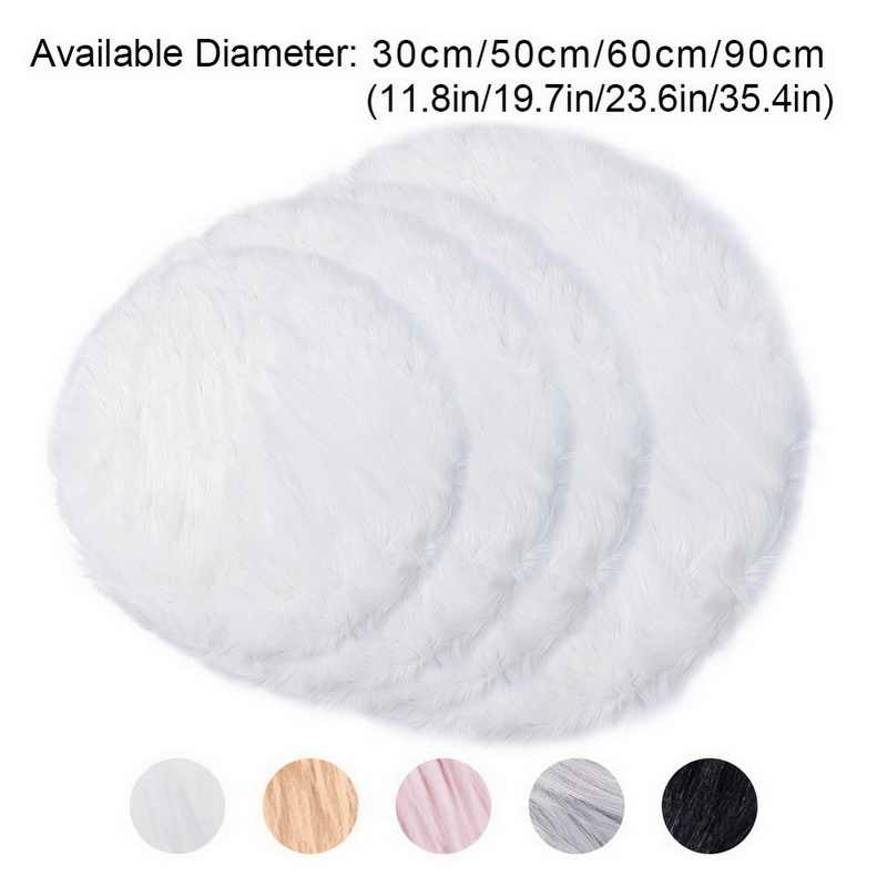 Soft Small Round Artificial Sheepskin Rug Chair Cover Bedroom Mat Artificial Wool Warm Hairy Carpet Seat Textil Fur Area Rugs