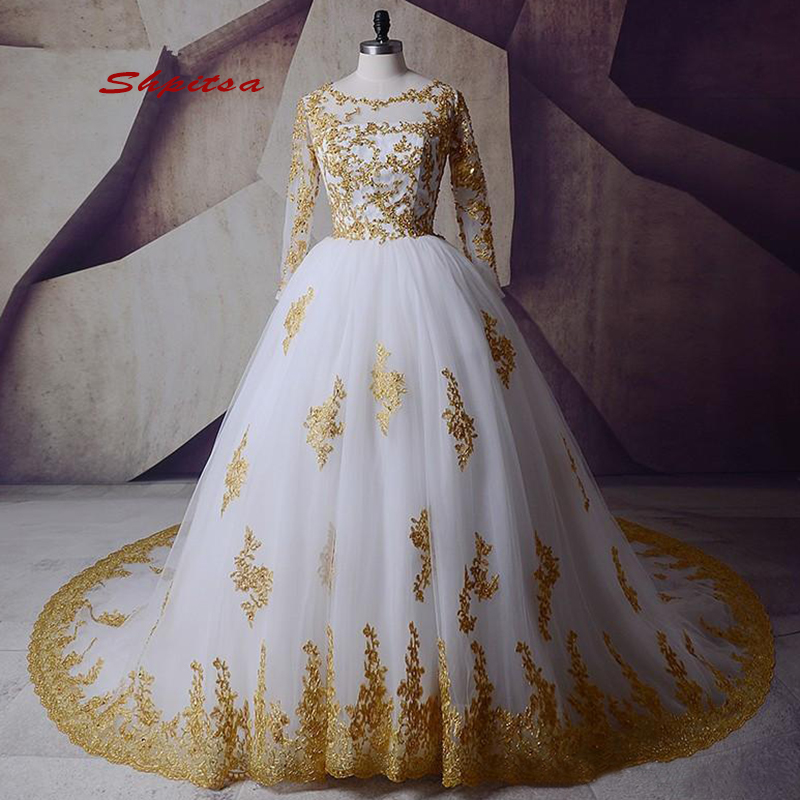 Long Sleeve Wedding Dresses Tulle Plus Size Ball Gown White And Gold Bride Bridal Weding Weeding Dresses Wedding Gowns