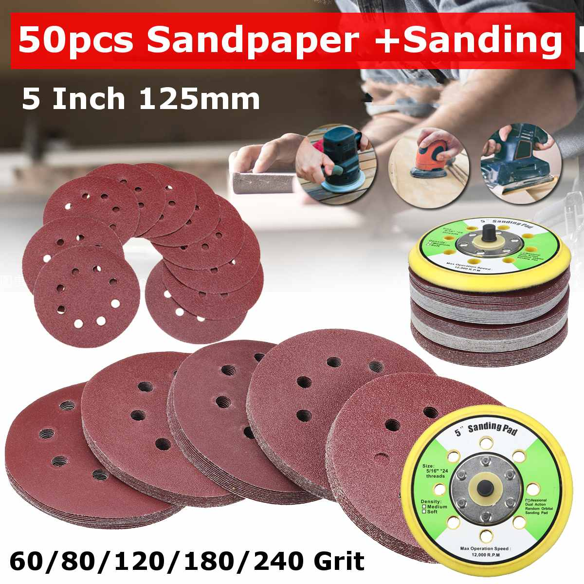 50pcs 5 Inch 125mm Round Sandpaper Eight Hole Disk Sand Sheets Grit 60/80/120/180/240  Hook And Loop Sanding Disc Polish Pad