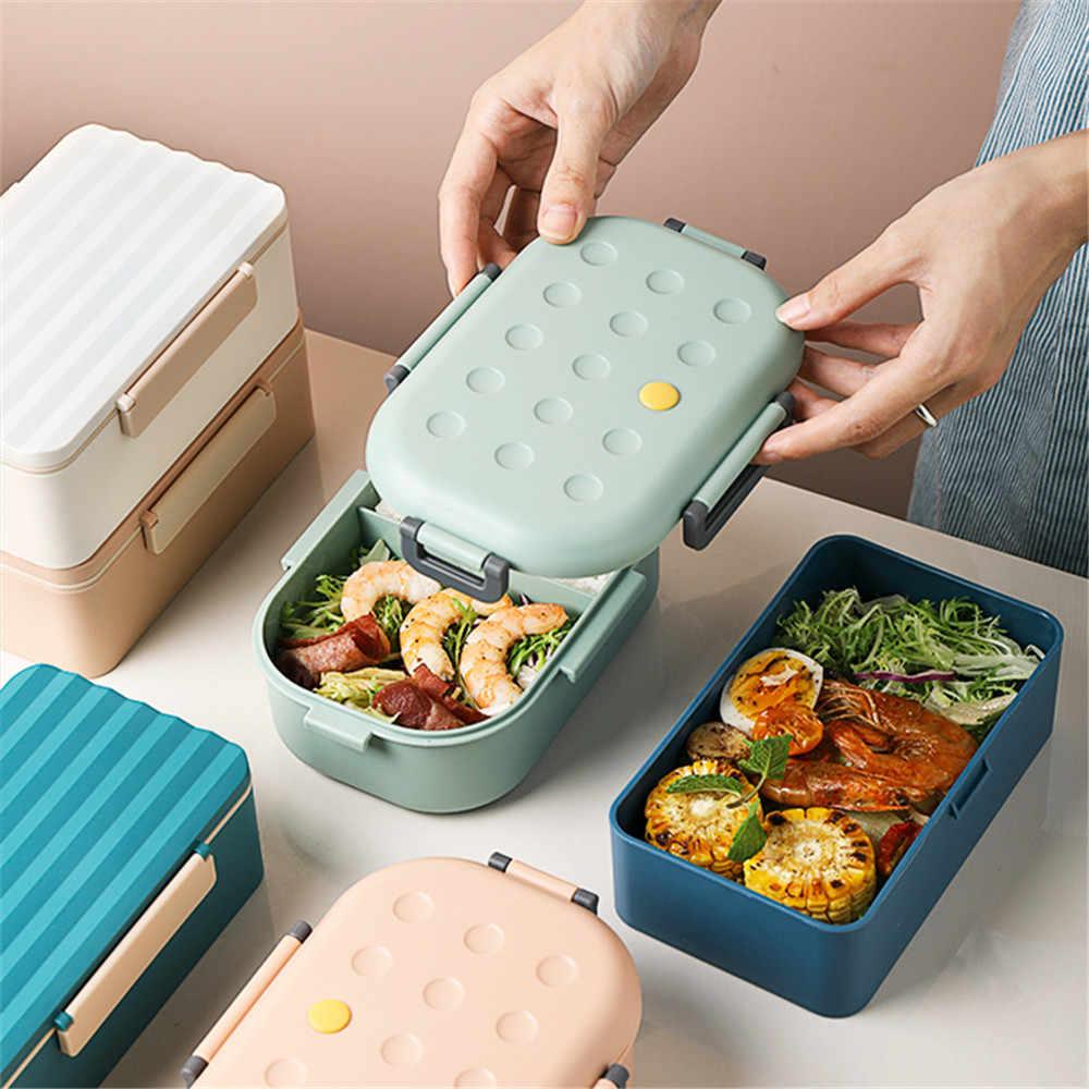 Không Chứa BPA Nhựa Hộp Cơm 2 Tầng Đựng Thực Phẩm Đa Năng Con Trưởng Thành Nữ Kid Lunchbox Dùng Được Lò Vi Sóng Hộp Đen 2000 Ml