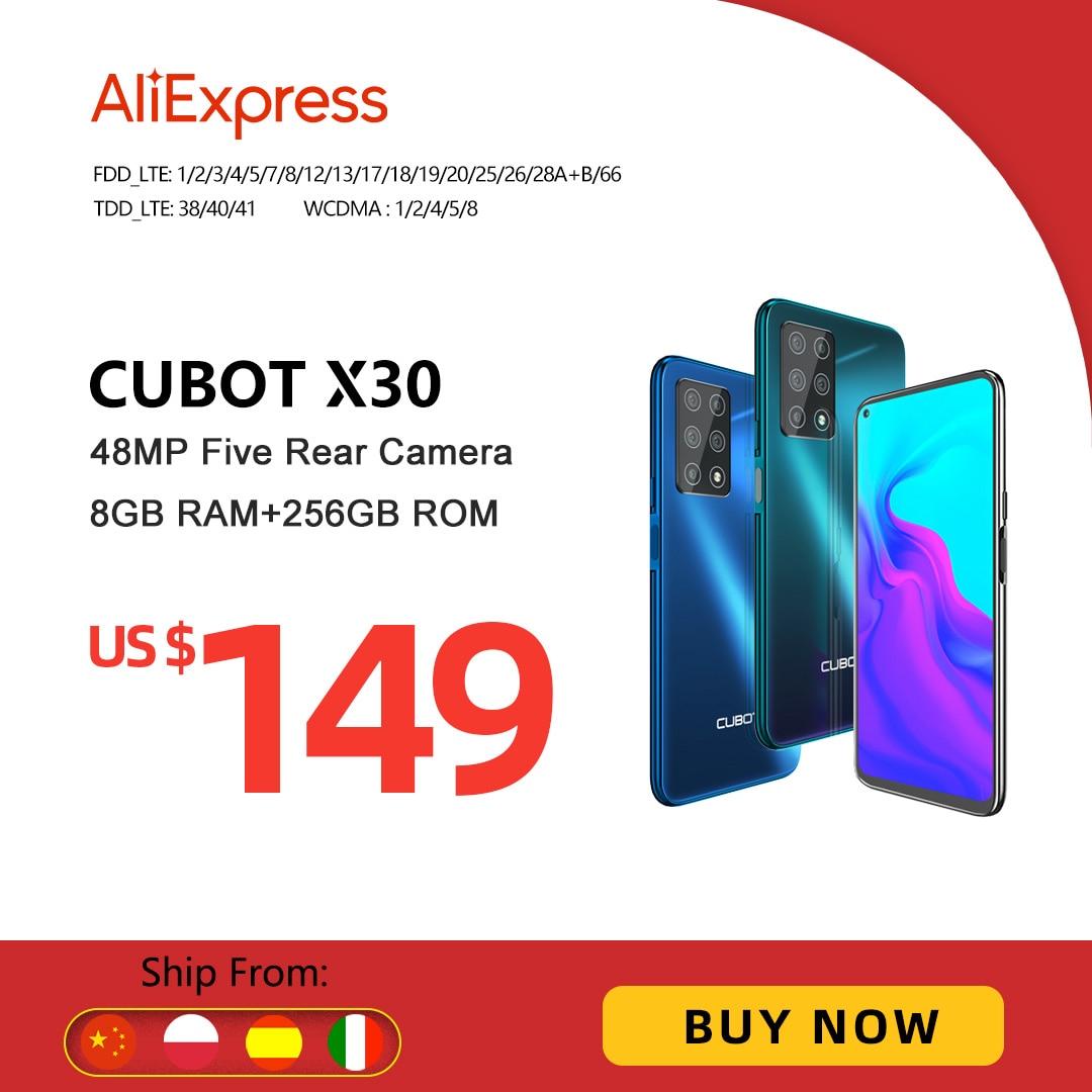 "Cubot X30 Smartphone 48MP cinco Cámara 32MP Selfie 6 + 128GB/8GB + 256GB NFC 4200mAh batería 6,4 ""FHD + Google Android 10 Global bandas Helio P60 WIFI 2,4G/5G SIM Dual teléfono móvil 4G LTE celular OTG|Teléfonos móviles| - AliExpress"