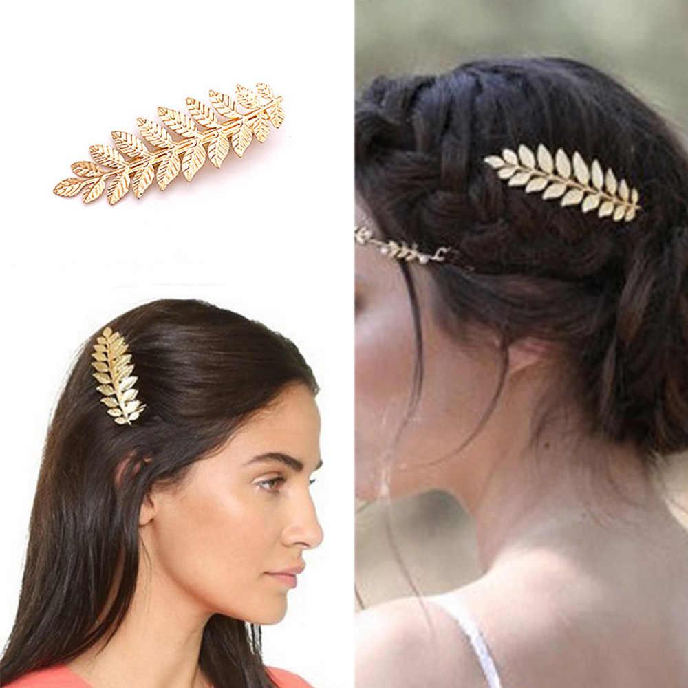 Nowe ślubne akcesoria do włosów opaski do włosów koreańskie złote liście wianek Vintage perła ślubna opaska tiara kobiety dziewczęce korona do włosów