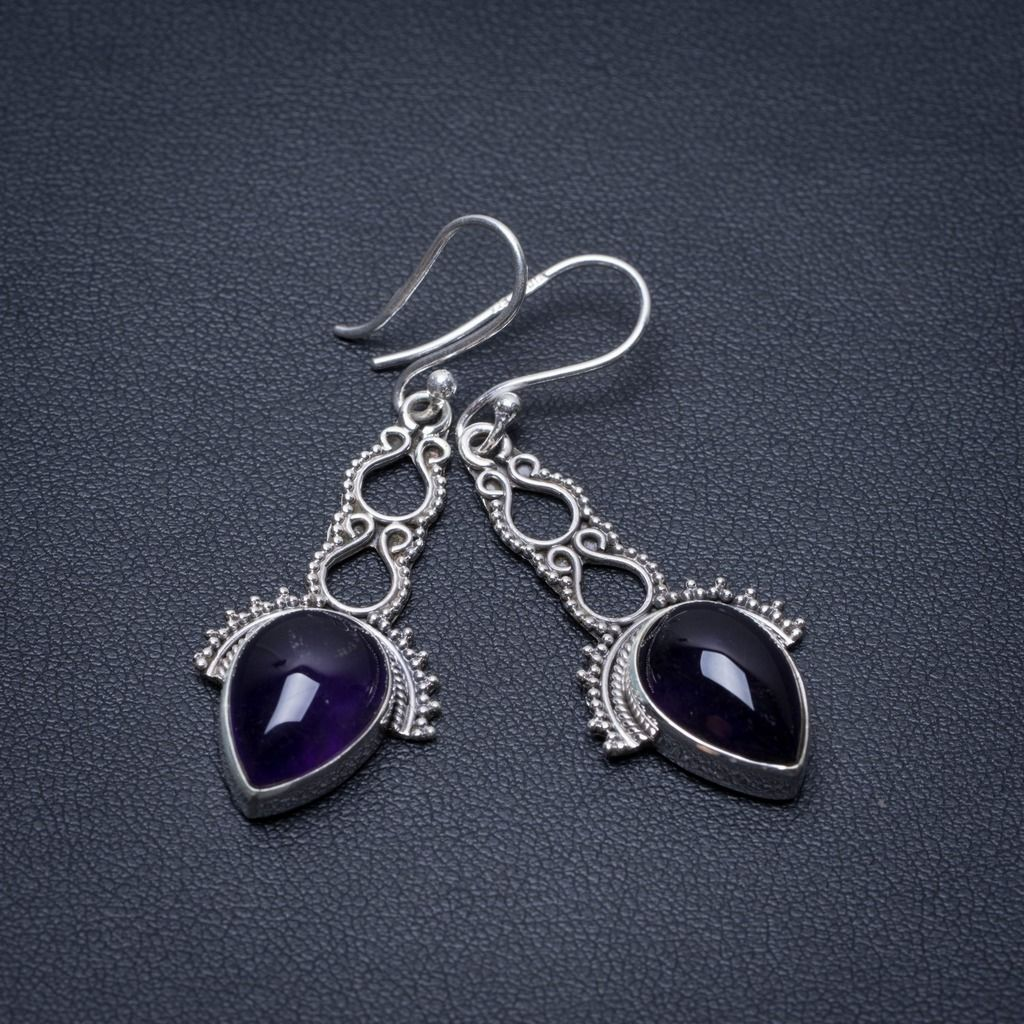 Natural Amethyst Punk Style 925 Sterling Silver Earrings 1 3/4 S1365