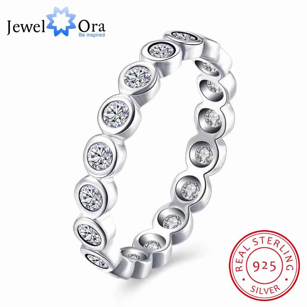 925 Sterling Silver Engagement Ring Multiple Zircon Paved Wedding Rings for Women Party Accessories Jewelry (JewelOra RI102594)