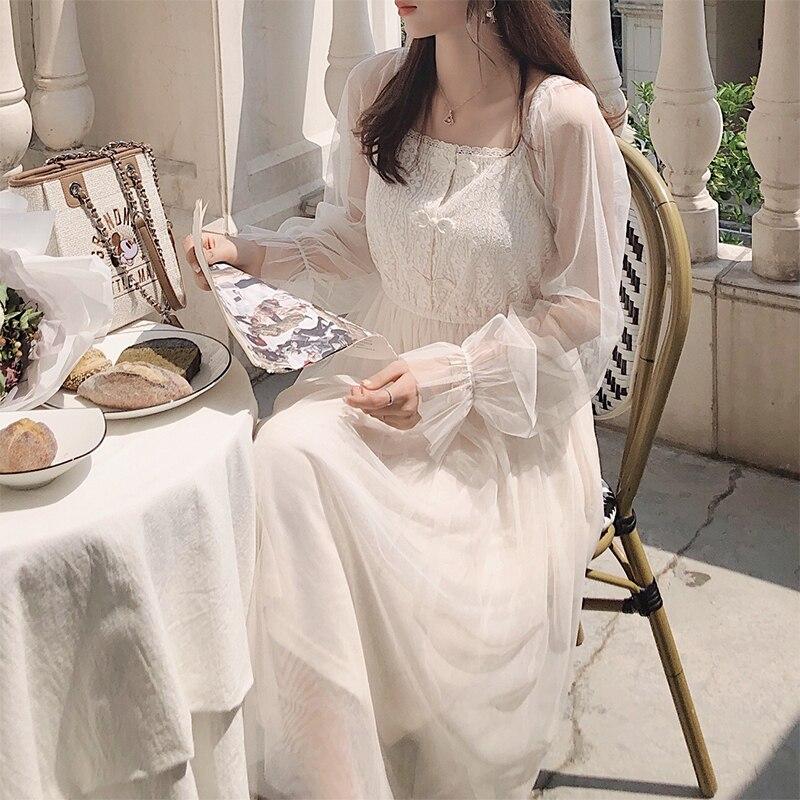MISHOW 2019 Autumn Lace Lady Long Dress Women Fashion High Waist Mid-Calf Length Lace Dress MX19C1301