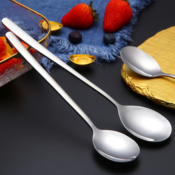 304 Stainless Steel Spoons With Long Handle Korean Soup Spoon Dinner Spoons Rice/Salad Tableware