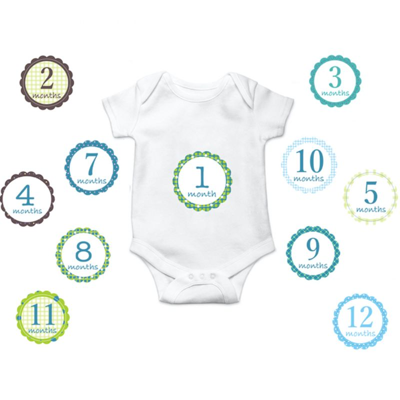 12 Pcs Set Newborn Baby Monthly Stickers Pregnant Monthly Photography Props Milestone Stickers