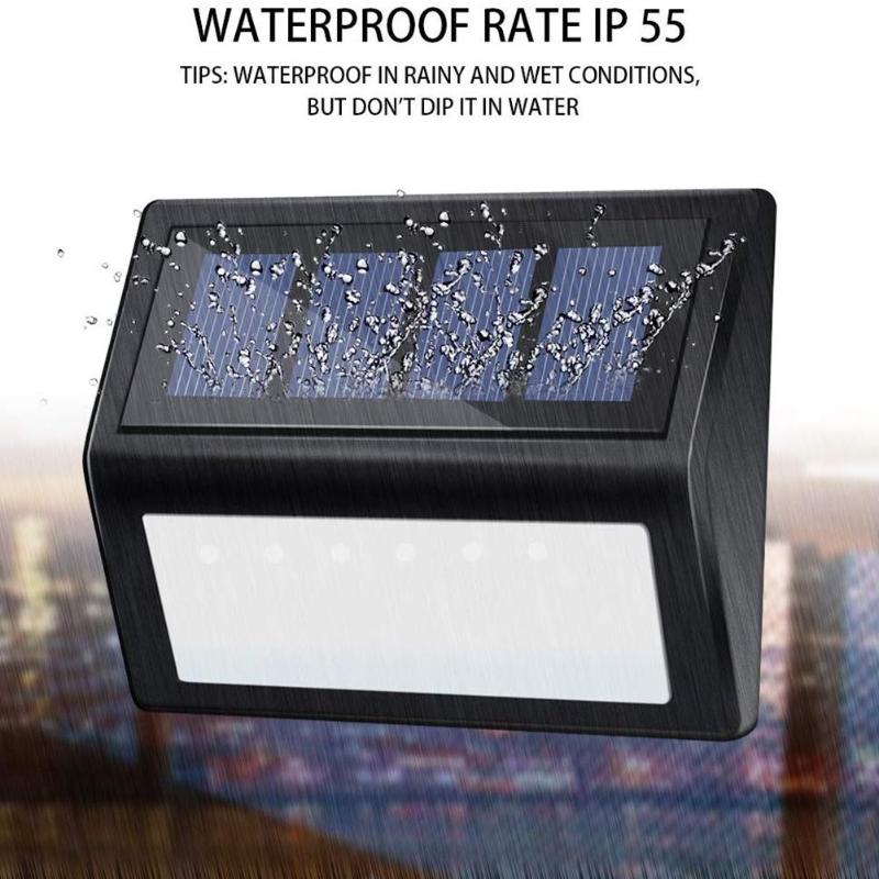 Outdoor 6LED Solar Power Stair Light Waterproof Garden Yard Street Lamp