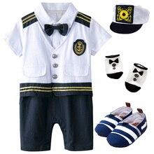 Костюм капитана для маленьких мальчиков, комбинезон с шапкой для новорожденных, костюм для косплея на Хэллоуин, костюм моряка для малышей