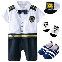 Baby Boys Captain Costume Romper With Hat Newborn Infant Halloween Cosplay Jumpsuit Outfit Toddler Skipper Sailor Playsuit