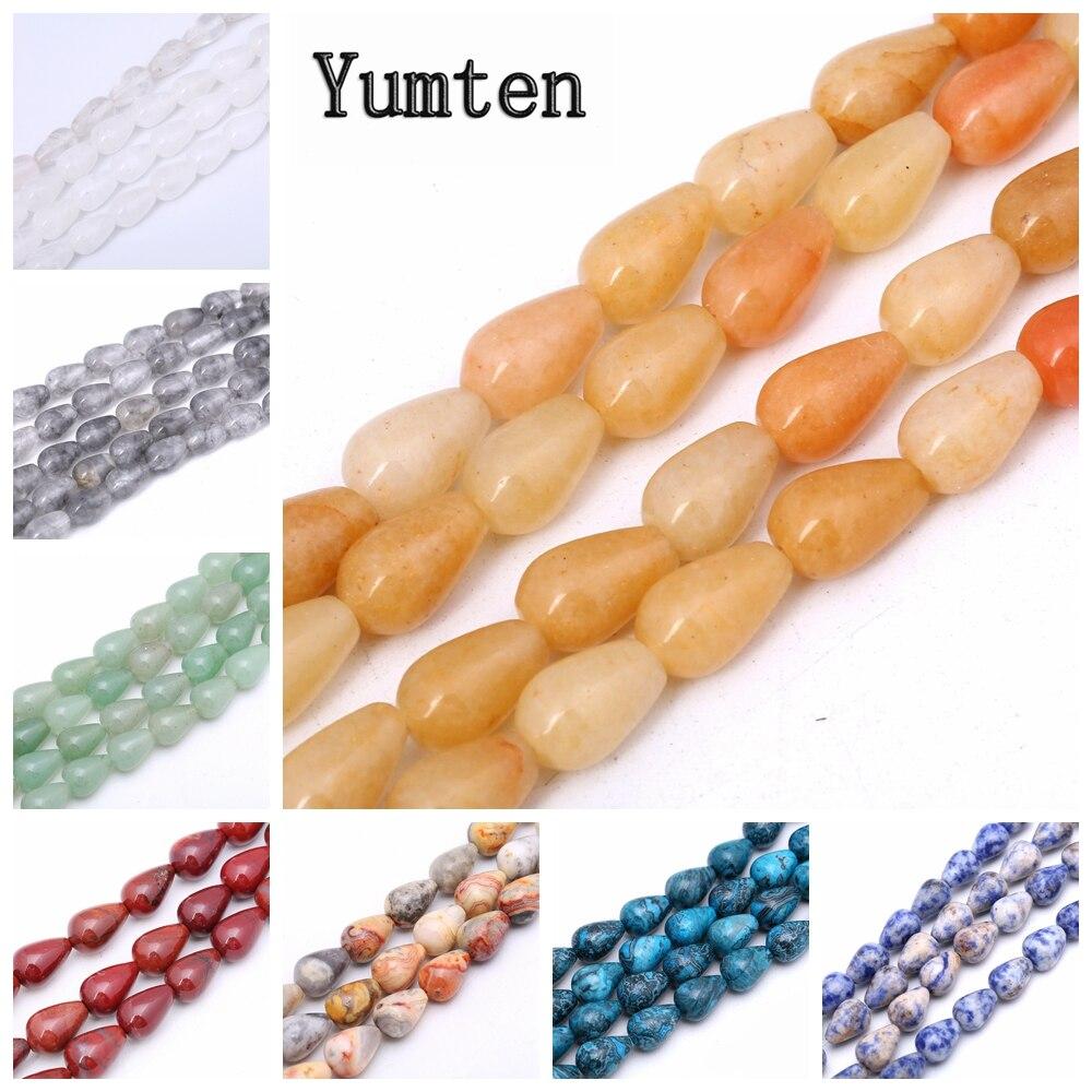 Yumten Pear Topaz Bead 10mm*14mm Natural Onyx Rose Quartz Jasper Rainbow Beads Wholesale Hand Made Jewelry Necklace Bangles DIY