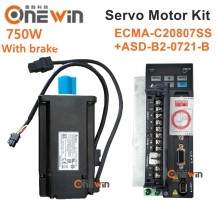 цена на Delta 750W 220V AC servo motor driver kit with brake 2.39NM 3000rpm 17bit ASD-B2-0721-B + ECMA-C20807SS  with 3m cable