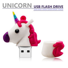 Pen Drive Real Capaciteit Flash Usb 64 Gb 32 Gb Leuke Paard Pendrive Cartoon Eenhoorn 4 Gb 8 Gb 16gb Memory Stick Usb Flash Drive Geschenken(China)