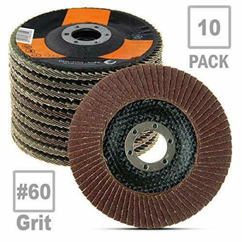10pcs 115mm Alumina Auto Body Sanding Flap Discs Wheels 80 Grit For Stainless Steel Sanding Wheels 60 Grit 13300 Rpm Speed