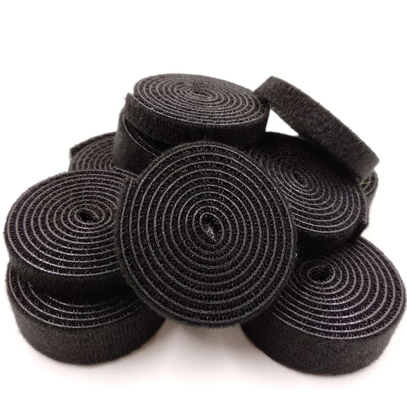 1Meter Hooks and loops strong Self Adhesive durable black Cable Ties Nylon fastener roll long hook wholesale