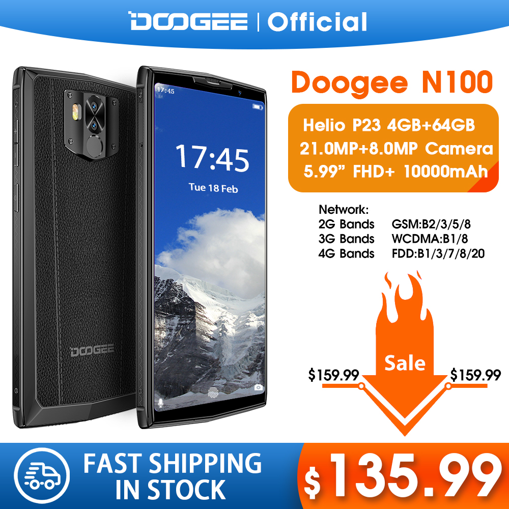 DOOGEE N100 Mobilephone 10000mAh Battery Fingerprint 5.9inch FHD+ Display 21MP Camera MT6763 Octa Core 4GB 64GB Cellphone 4G-LTE image