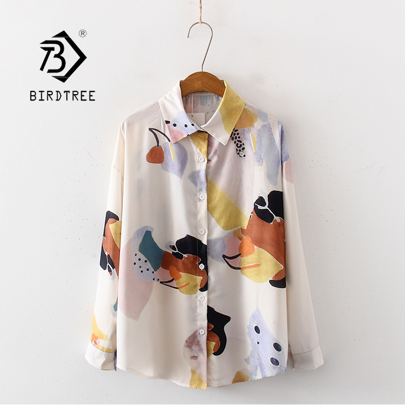 New Arrival Retro Painting Print Oversize Turn-Down Collar Chiffon Blouse Button Up Casual Loose Shirt Feminina Blusa T99007F