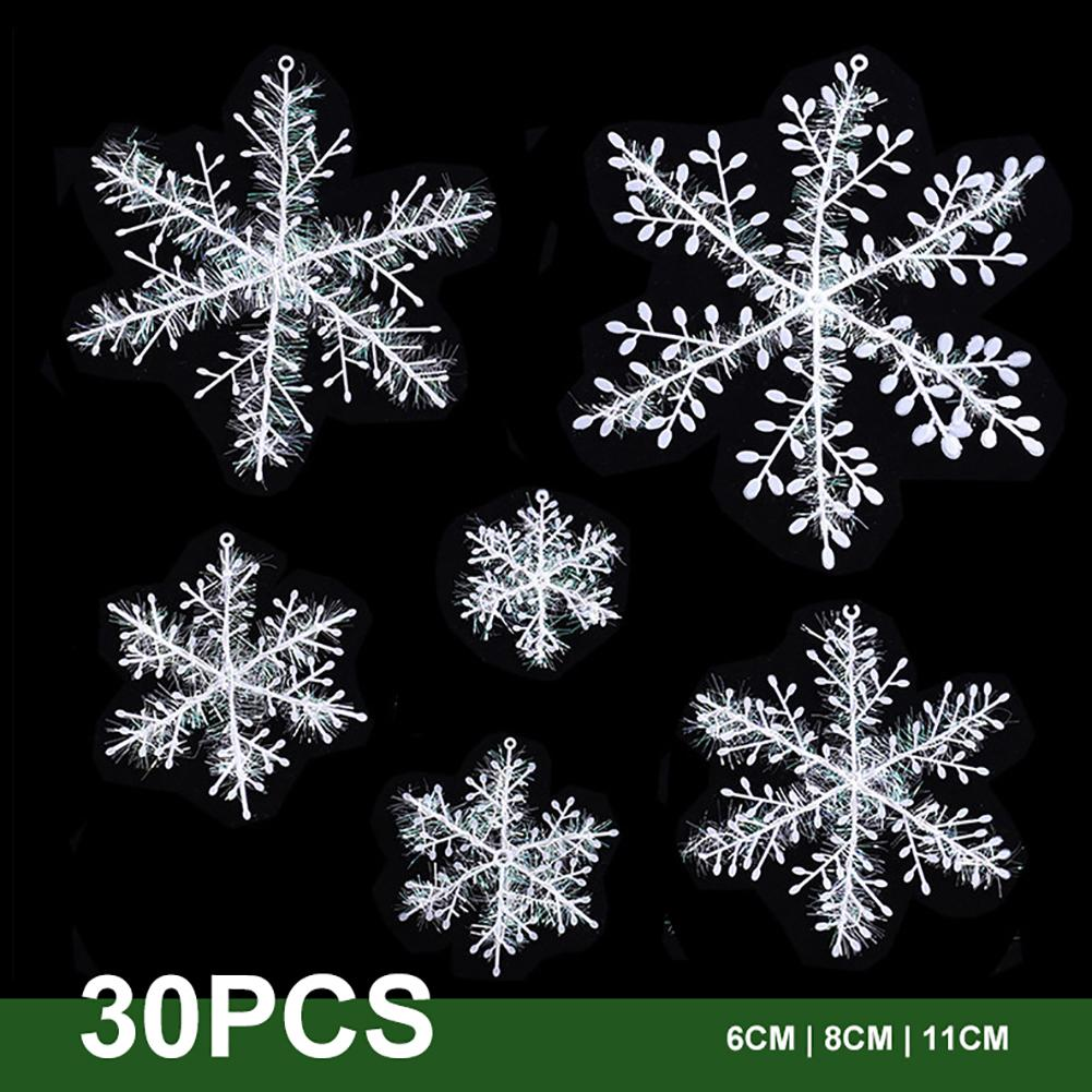 30Pcs Snowflake Christmas Ornament Xmas Tree Pendant Holiday Garden Wedding Party