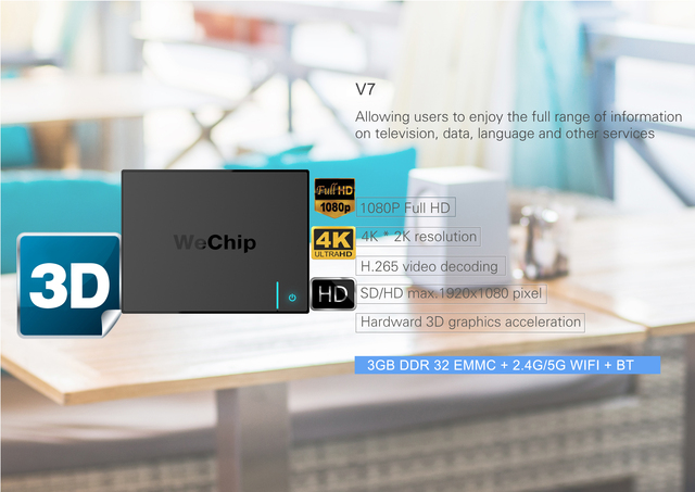 Wechip V7 android smart tv box 7.1 Amlogic S912 Octa Core 3G/32G dual wifi BT4.11000M LAN PK X96 4K H96pro+ Media Players