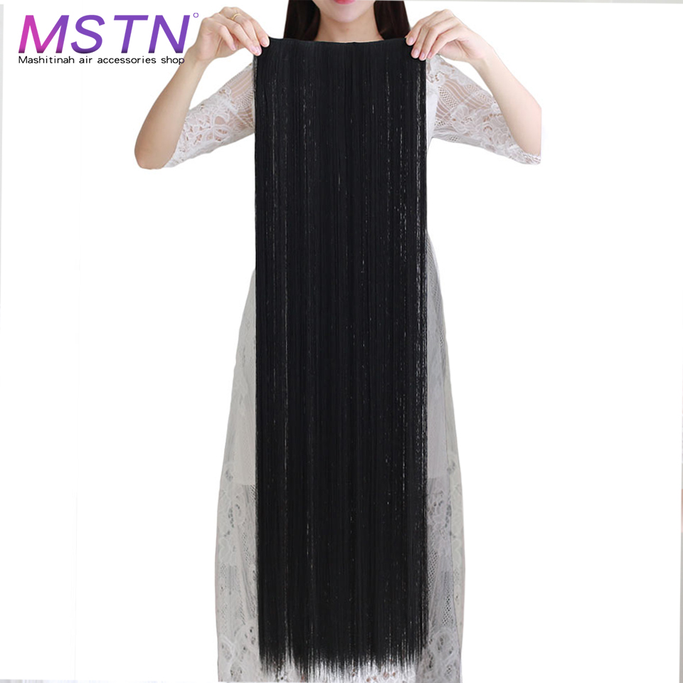 MSTN Women's 20-38 Inch 5clip In Hair Extensions Black Brown Super Long Soft Heat-Resistant Synthetic Fiber Wig Hair Accessories