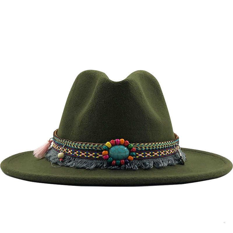 Baru Pria Topi Wol Merasa Topi Fedora Panama Topi dengan Sabuk Gesper Jazz Trilby Cap Pesta Formal Topi dalam Warna Pink, hitam