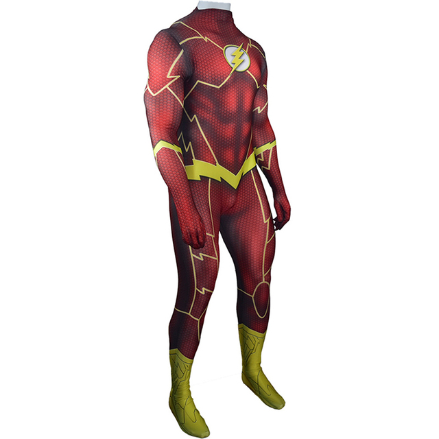 The Flash Barry Allen Cosplay Costume Zentai Superhero Bodysuit Adults Kids Unisex One Piece Battle Red