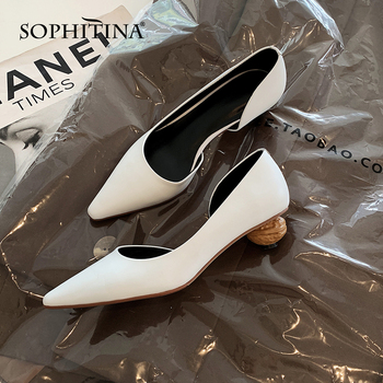 SOPHITINA Solid Fashion Women Pumps New Design Summer Med Special Heel Pointed Toe Ladies Shoes Shallow Sexy Party Pumps MO411
